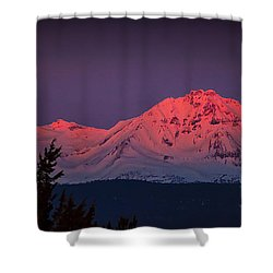Morning Dawn On Two Of Three Sisters Mountain Tops In Oregon Shower Curtain
