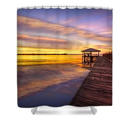 Morning Dock Shower Curtain by Debra and Dave Vanderlaan