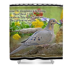Morning Dove With Verse Shower Curtain by Debbie Portwood