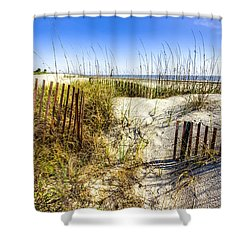 Morning Dunes Shower Curtain by Debra and Dave Vanderlaan