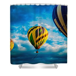 Morning Flight Hot Air Balloons Shower Curtain by Bob Orsillo