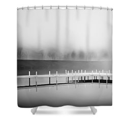 Shower Curtain featuring the photograph Morning Fog Burn-off by Greg Jackson