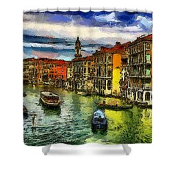 Shower Curtain featuring the painting Beautiful Morning In Venice, Italy by Georgi Dimitrov