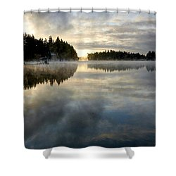 Morning Lake Reflection Shower Curtain