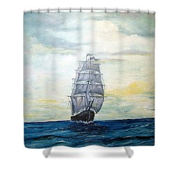 Morning Light On The Atlantic Shower Curtain by Lee Piper