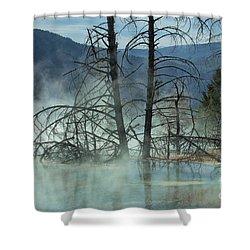 Morning Mist At Mammoth Hot Springs Shower Curtain by Sandra Bronstein