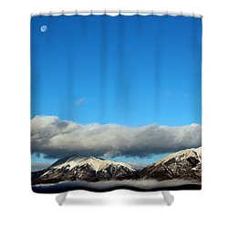 Shower Curtain featuring the photograph Morning Moon Over Spanish Peaks by Barbara Chichester