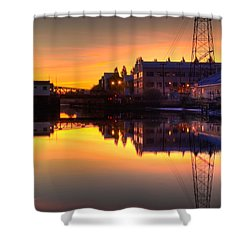 Morning On The River Shower Curtain by Bill Gallagher