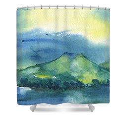 Shower Curtain featuring the painting Morning Over The Mountain by Frank Bright