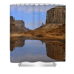 Morning Reflections In Monument Valley Shower Curtain by Sandra Bronstein