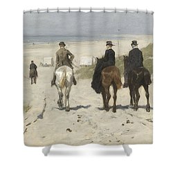 Morning Ride Along The Beach Shower Curtain