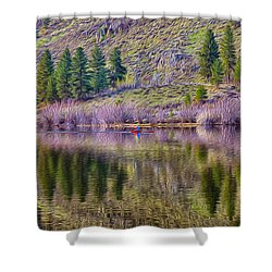 Morning Rowing Shower Curtain by Omaste Witkowski