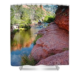 Morning Sun On Oak Creek - Slide Rock State Park Sedona Arizona Shower Curtain