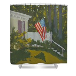 Morning Sun On Old Glory - Art By Bill Tomsa Shower Curtain