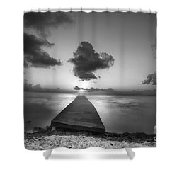 Morning Sunrise By The Dock Shower Curtain by Dan Friend