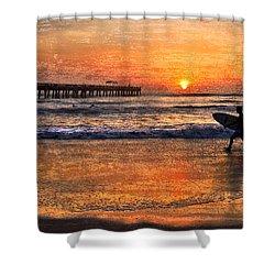 Morning Surf Shower Curtain by Debra and Dave Vanderlaan