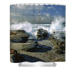 Morning Tide In La Jolla Shower Curtain by Sandra Bronstein