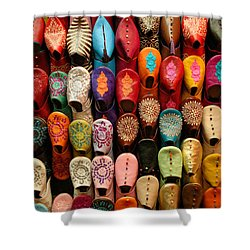 Moroccan Babouches Old Medina Marrakesh Morocco Shower Curtain by Ralph A  Ledergerber-Photography