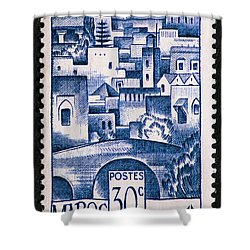 Morocco Vintage Postage Stamp Shower Curtain