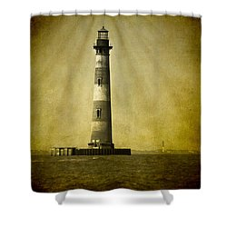 Morris Island Light Bw Vintage Shower Curtain