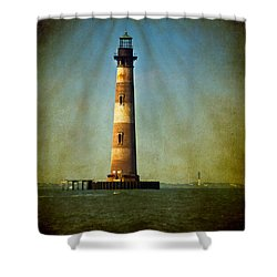 Morris Island Light Color Vintage Shower Curtain