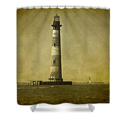 Morris Island Light Vintage Bw Uncropped Shower Curtain