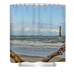 Morris Island Light With Driftwood Shower Curtain