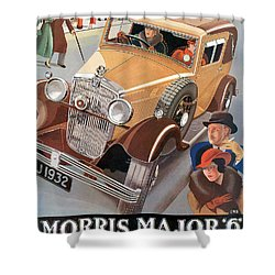 Morris Major 6 - Vintage Car Poster Shower Curtain by World Art Prints And Designs