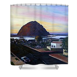 Morro Rock At Night Shower Curtain