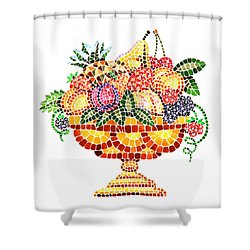 Mosaic Fruit Vase Shower Curtain by Irina Sztukowski