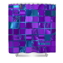 Mosaic In Purple And Teal Shower Curtain by Judi Suni Hall