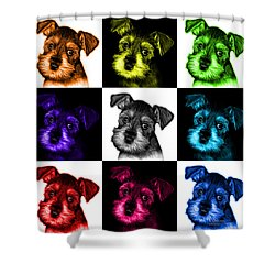 Mosaic Salt And Pepper Schnauzer Puppy 7206 F - V2 Shower Curtain by James Ahn