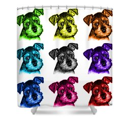 Mosaic Salt And Pepper Schnauzer Puppy 7206 F - Wb Shower Curtain by James Ahn