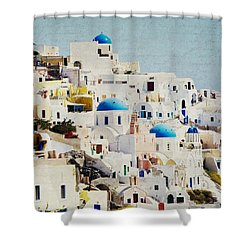 Mosaic - Santorini Shower Curtain by Lisa Parrish