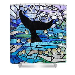 Mosaic Stained Glass - Whale Tail Shower Curtain by Catherine Van Der Woerd