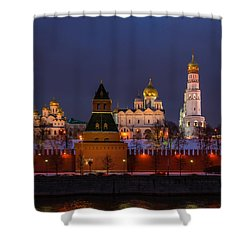 Moscow Kremlin Cathedrals At Night - Square Shower Curtain by Alexander Senin