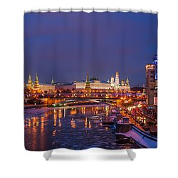Moscow Kremlin Illuminated Shower Curtain by Alexander Senin