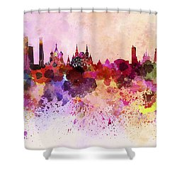 Moscow Skyline In Watercolor Background Shower Curtain