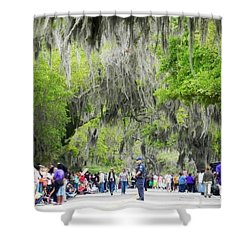 Moss And Massive Crowd Shower Curtain by Patricia Greer