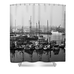 Moss Landing Harbor Shower Curtain