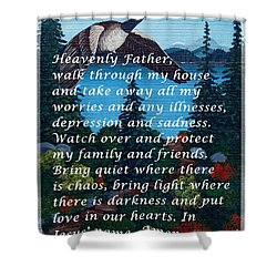 Most Powerful Prayer With Goose Flying And Autumn Scene Shower Curtain by Barbara Griffin