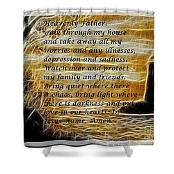 Most Powerful Prayer With Lighthouse Scene Shower Curtain by Barbara Griffin