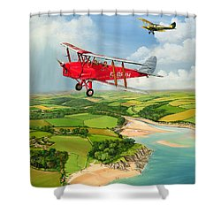 Mothecombe Moths Shower Curtain by Richard Wheatland
