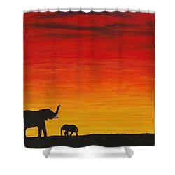 Shower Curtain featuring the painting Mother Africa 1 by Michael Cross