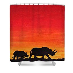 Shower Curtain featuring the painting Mother Africa 5 by Michael Cross