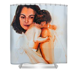 Shower Curtain featuring the painting Mother And Child by Greta Corens