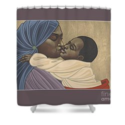 Shower Curtain featuring the painting Mother And Child Of Kibeho 131 by William Hart McNichols