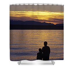 Mother And Daughter Holding Each Other Along Edmonds Beach At Su Shower Curtain