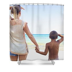 Mother And Son At Beach Shower Curtain by Kicka Witte