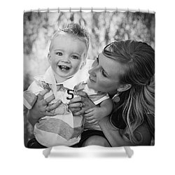 Mother And Son Laughing Together Shower Curtain by Daniel Sicolo